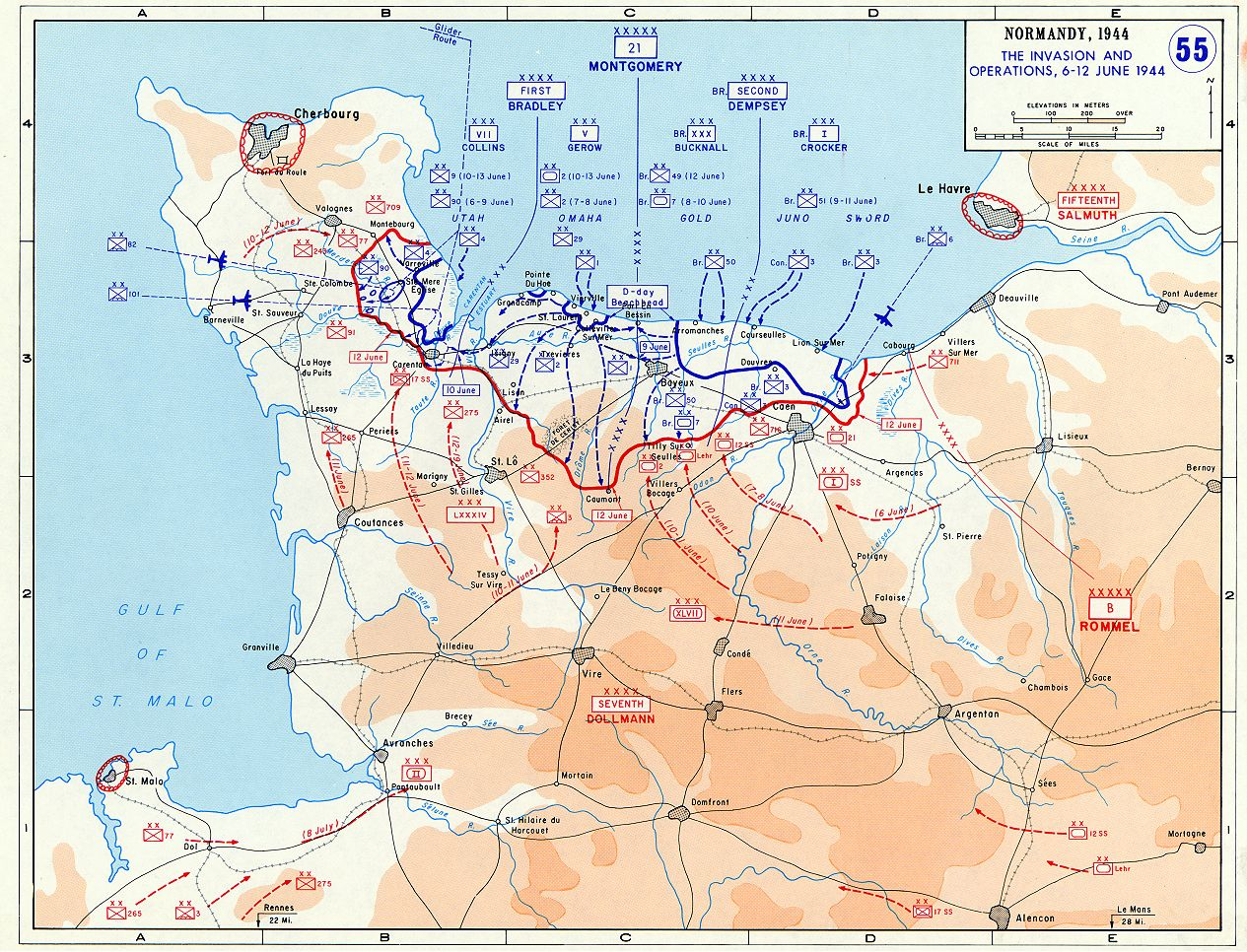 This map shows the battle which was fought between the Allied