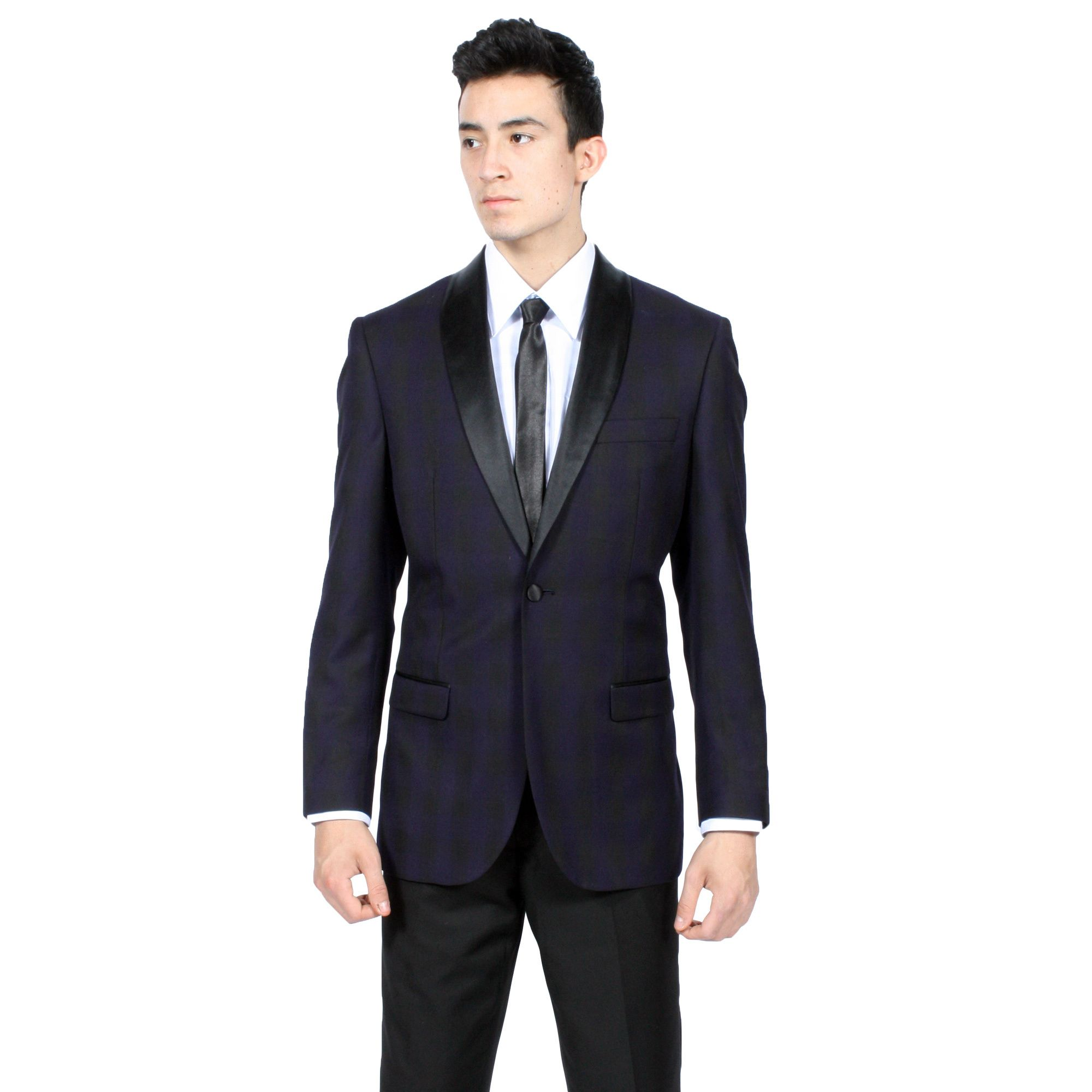 This slim fitting blazer is fashioned from polyester and viscose with a single-button closure. Zonettie finishes this tuxedo jacket with a contrasting satin shawl collar.