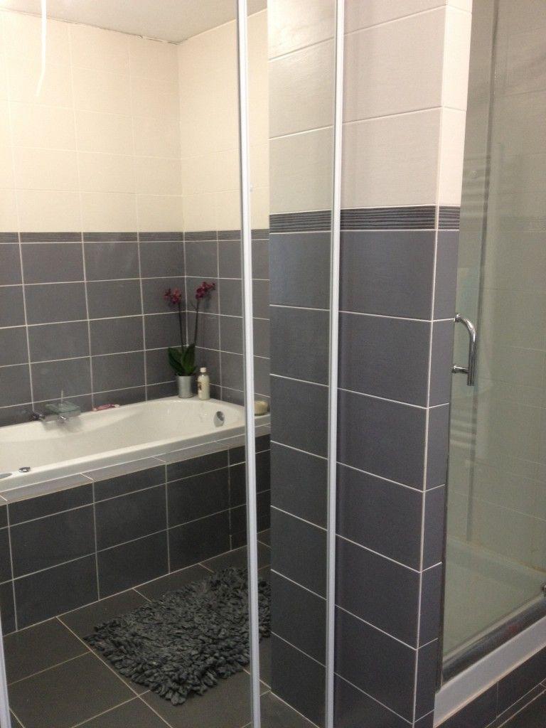 exemple deco salle de bain gris et blanc - Photo Déco  Salle de