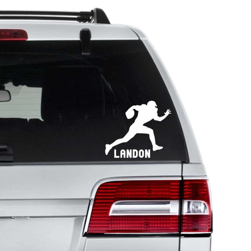 Personalized football decal football silhouette decal custom sports gift football car decal