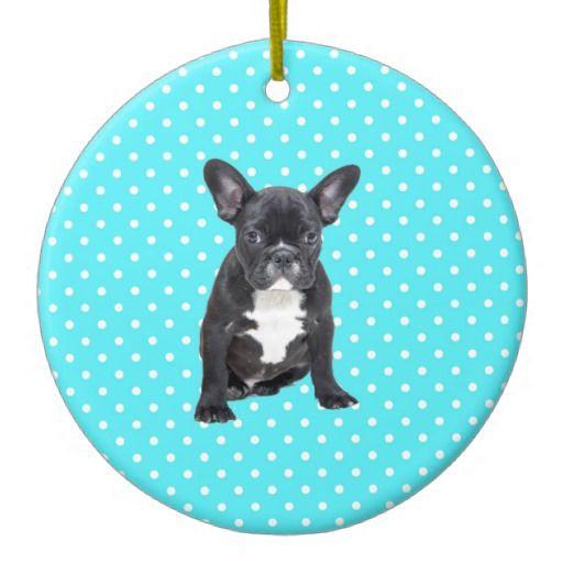 French Bulldog Christmas Ornament.Cute French Bulldog Puppy Blue Polka Dots Ceramic Christmas