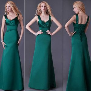 dark green lace up brides maid dresses | Dark Green Satin Lace Up Back Evening Wedding Bridesmaid Party Prom ...