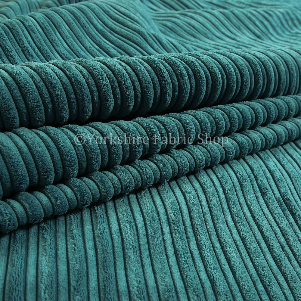 Designer Upholstery Fabric Blue Corduroy Velvet Curtain Cushion Cord Material UK