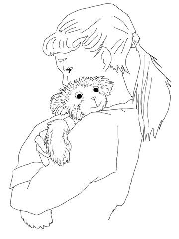 Lisa Hugging Corduroy Coloring Page From Corduroy Category Select