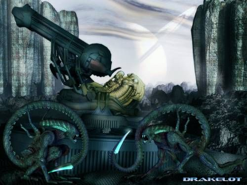 Wallpaper image: Alien Gunner, Science Fiction, 3D Digital Art, Digital image, 3d art computer artwork picture, modern digital design painti...