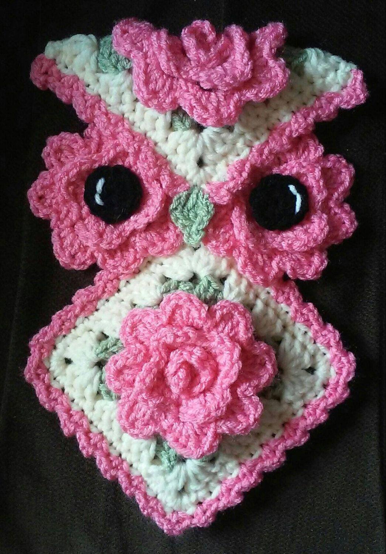 Crochet Rose Owl Potholder Pattern Only | Pinterest | Stricken