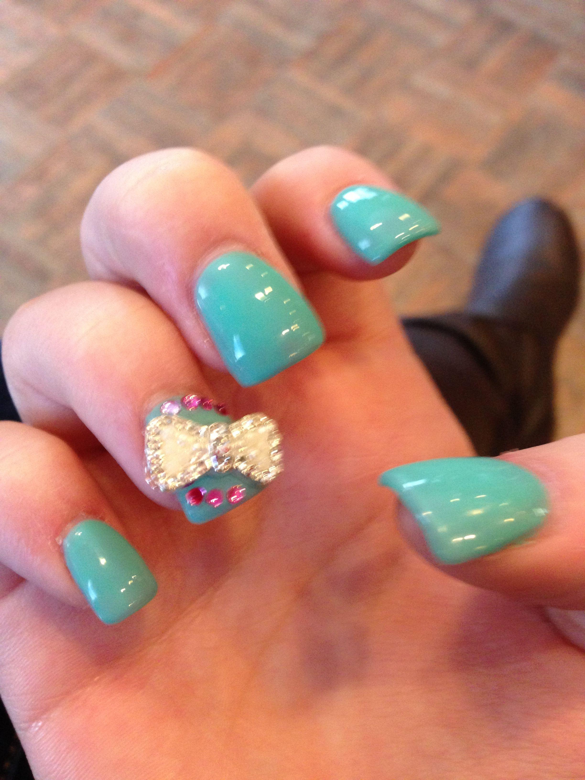 tiffany blue acrylic gel nails
