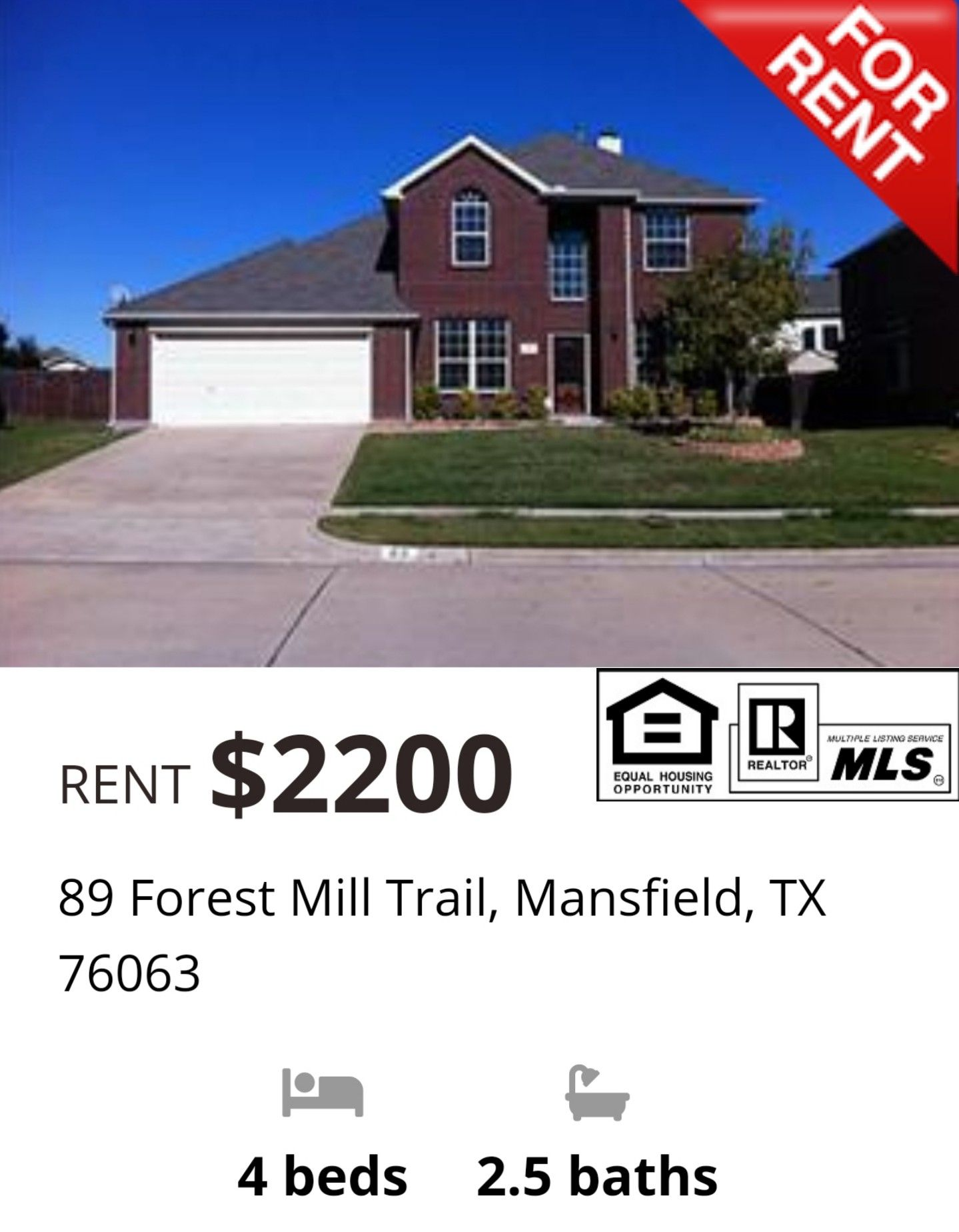 Beautiful 4 bedroom 25 bath twostory houseforrent with