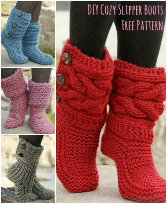 f0162cda1837 Cutest Knitted DIY  FREE Pattern for Cozy Slipper Boots