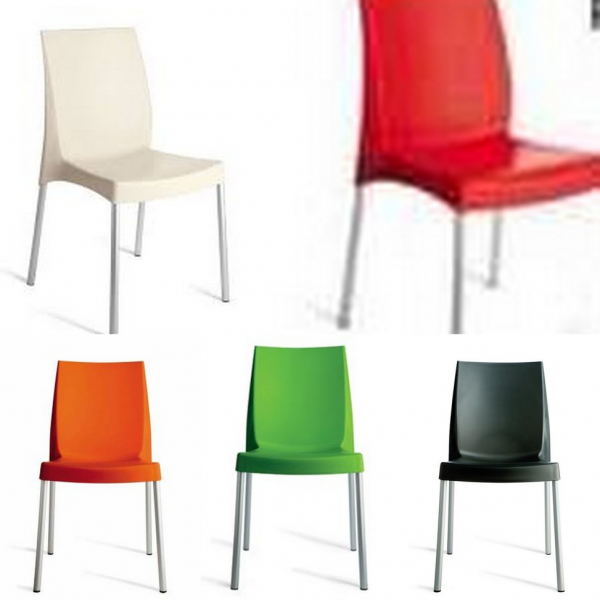 Sedie per locali in polipropilene con gambe in alluminio modello boulevard sedie moderne anche - Sedie in rattan ikea ...