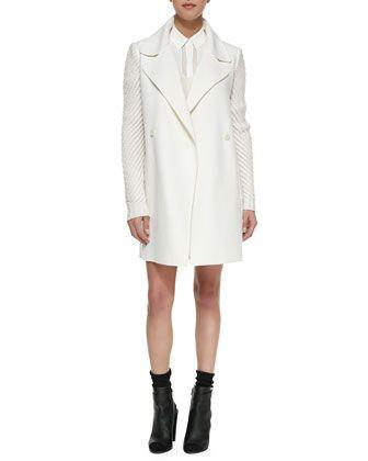 Vince Sweater-Sleeve Felt Coat, Drop-Sleeve Ribbed Knit Sweater & Straight Leather Miniskirt