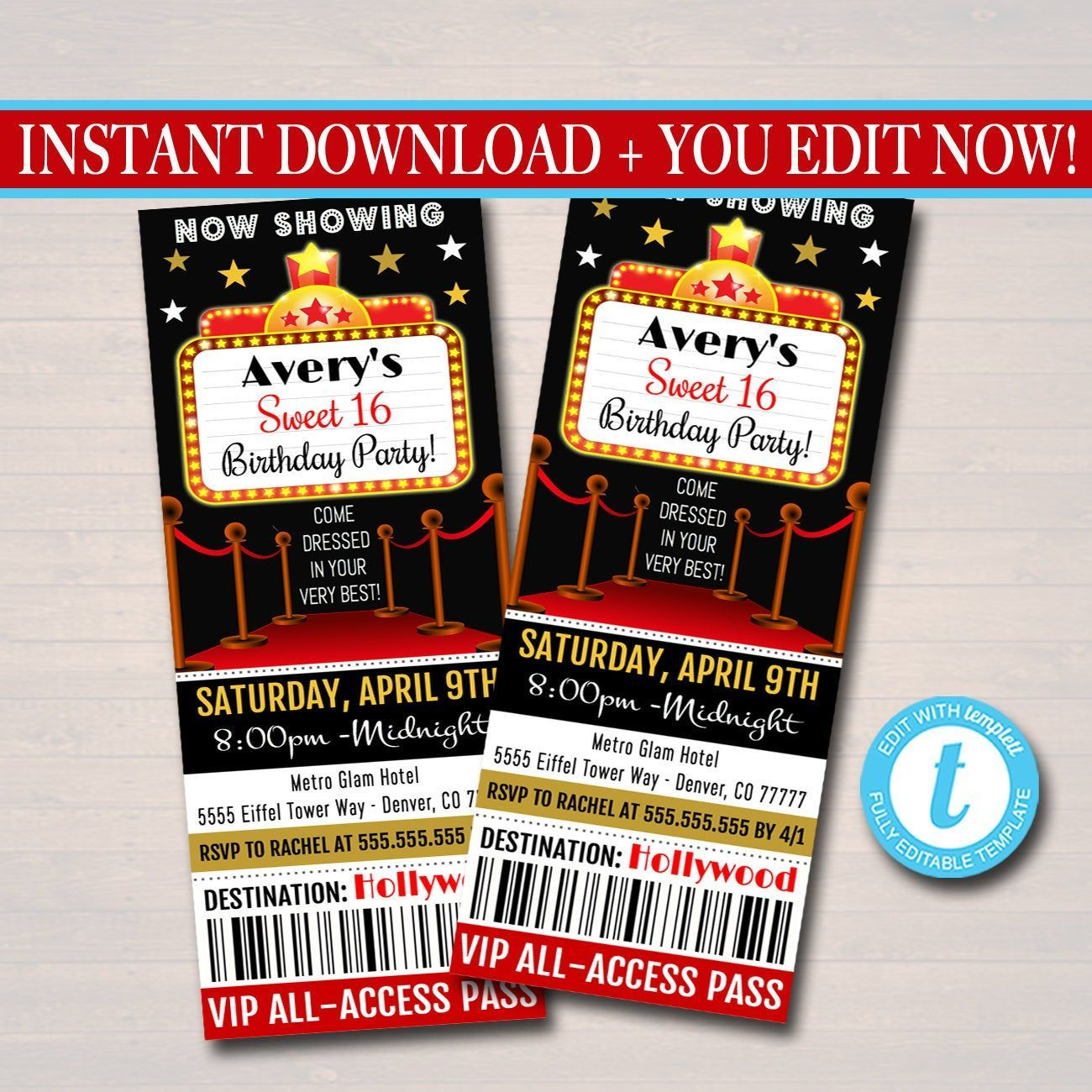 EDITABLE Red Carpet Ticket Invitation, Hollywood Movie Party Invite Glam Birthday Digital Invite, Red Carpet Party Invite INSTANT DOWNLOAD   #Birthday #Carpet #Digital #Download #EDITABLE #GLAM #Hollywood #Instant #Invitation #Invite #Movie #Party #Red #Ticket