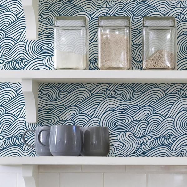 Nuwallpaper Navy Saybrook Navy Vinyl Strippable Roll Covers 30 75 Sq Ft Nus3562 The Home Depot Diy Home Decor Projects Wallpaper Shelves Nuwallpaper