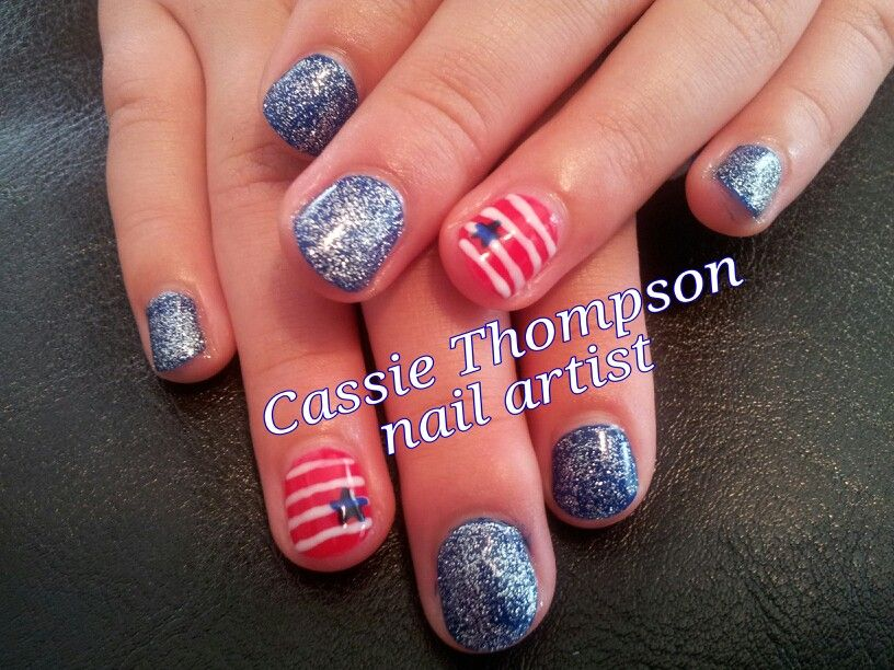 Hand Painted Stars And Stripes Nail Art By Cie Thompson Artist Of Vancouver Wa