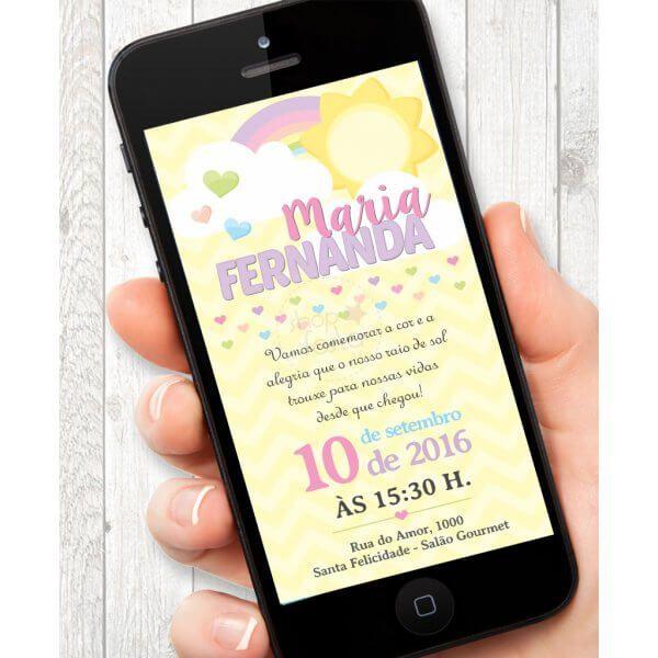 Convite Virtual festa arco iris