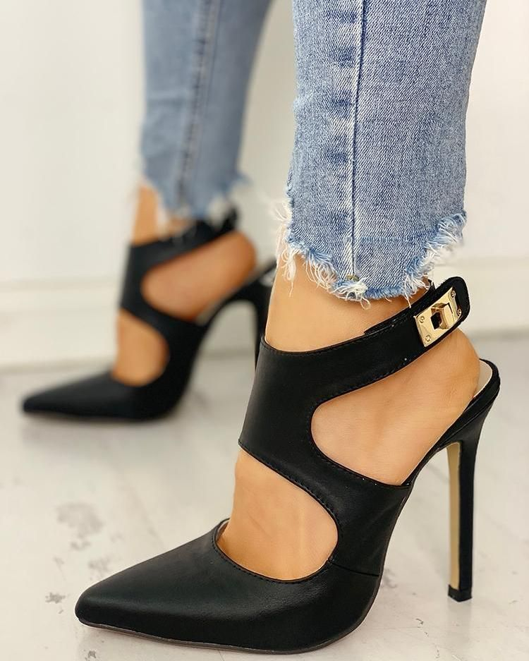 Photo of Pointed Toe Cut Out Slingback Heels