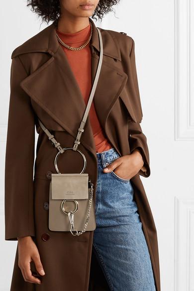Gray Faye Bracelet Leather And Suede Shoulder Bag Chloe Color Combinations For Clothes Shoulder Bag Fashion