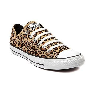 f8219a33c0d8 New Converse All Star Lo Leopard Womens Chucks Sneakers Tan Shoe Canvas