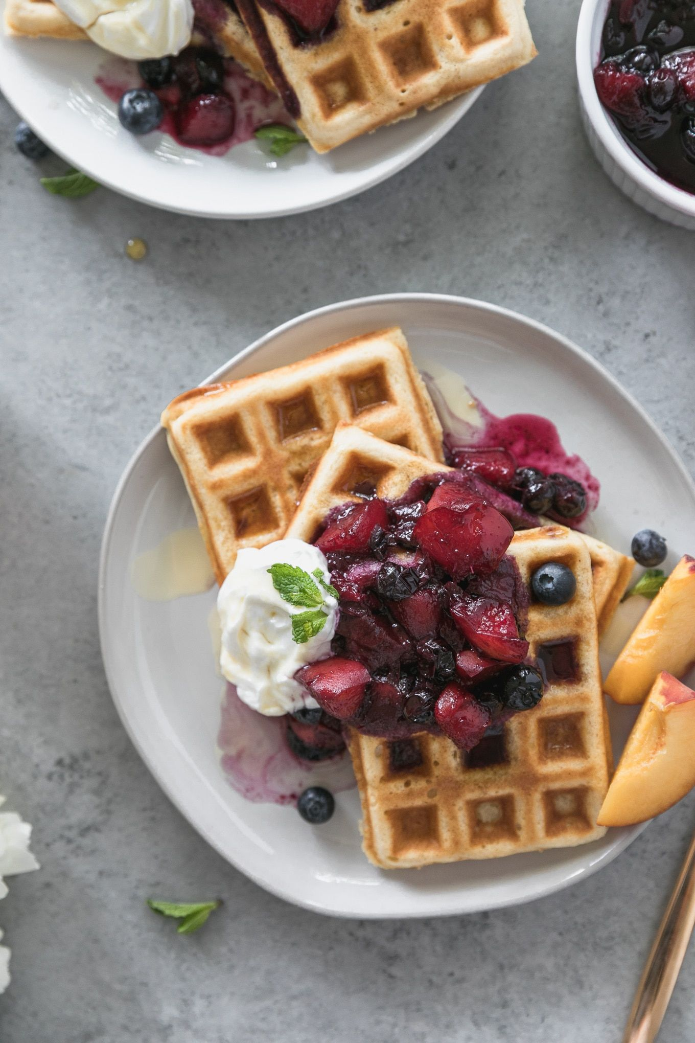 Buttermilk Waffles With Peach Blueberry Compote Recipe Peach Blueberry Blueberry Compote Peach Compote