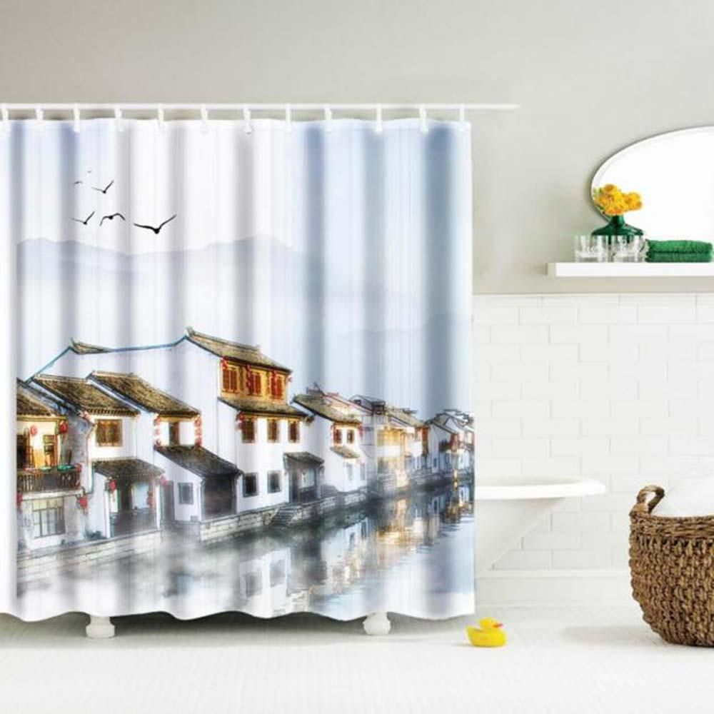 Custom Printed Village by Mountains Water Resistant and Mildew ...
