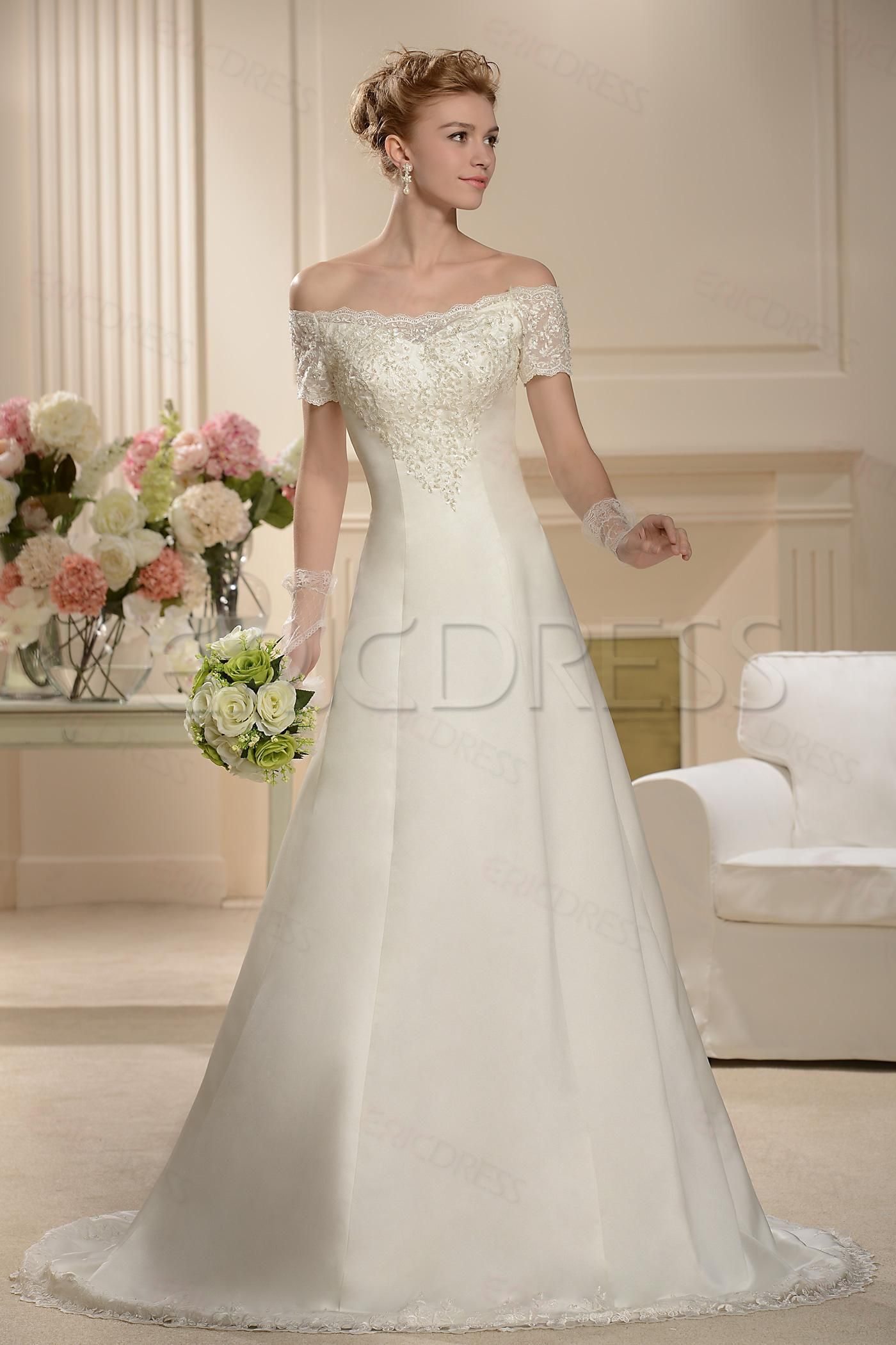 8429d832c1 Fabulous A-line Floor-length Bateau Short-Sleeve Wedding Dress Plus Size Wedding  Dresses- ericdress.com 10520947