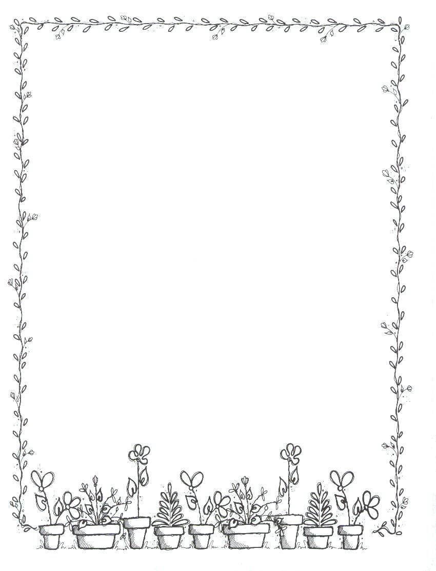 spring flowers portrait blank teacher clipart borders
