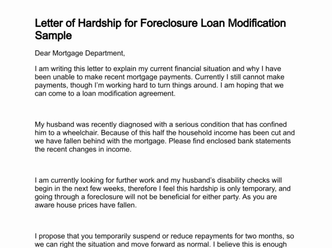 Hardship Letter Template For Loan Modification Request In 2020