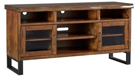 Inspire Q Hartwell Living Edge Rustic Industrial TV Stand  Brown Rustic Industrial Tv Stand R19