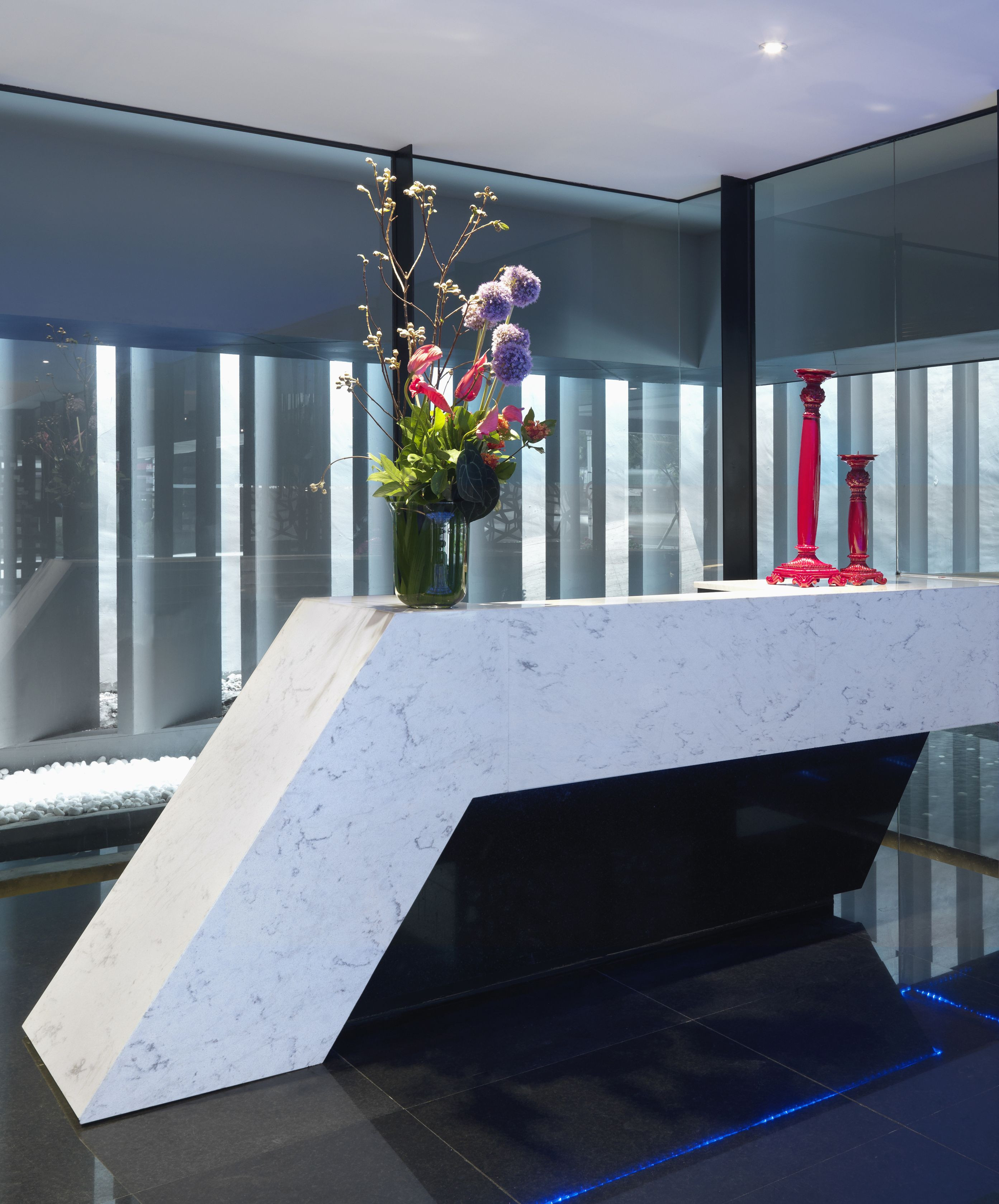 Modern Reception Desk Hanstone Quartz Cascina Collection
