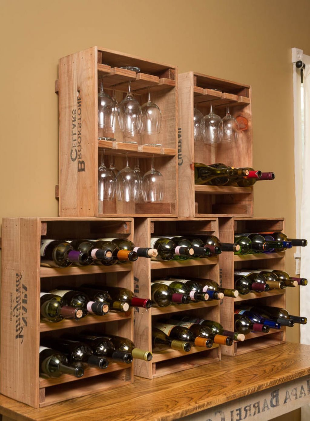 Barrel Furniture Wine Racks Wine Crate Combo Glass Bottle With Modern Design