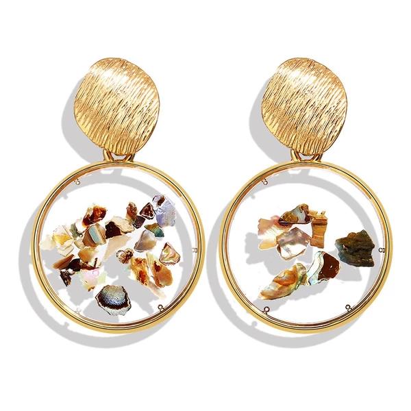 Shell Acrylic Tortoise Earrings For Women Resin Round Drop Dangle Earring Geometric Fashion Jewelry