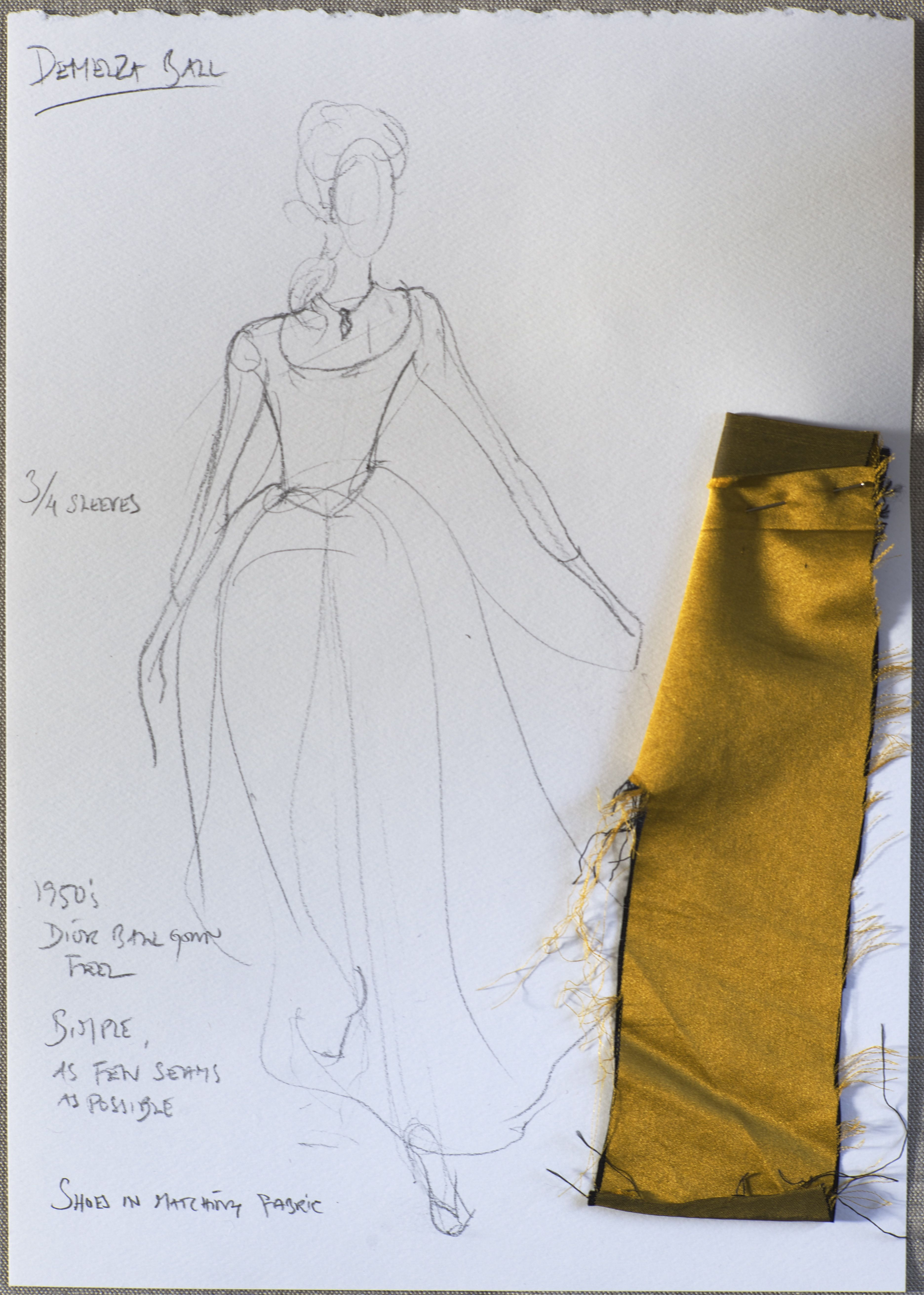 Sketches and fabric samples for Demelza's Christmas dress ...