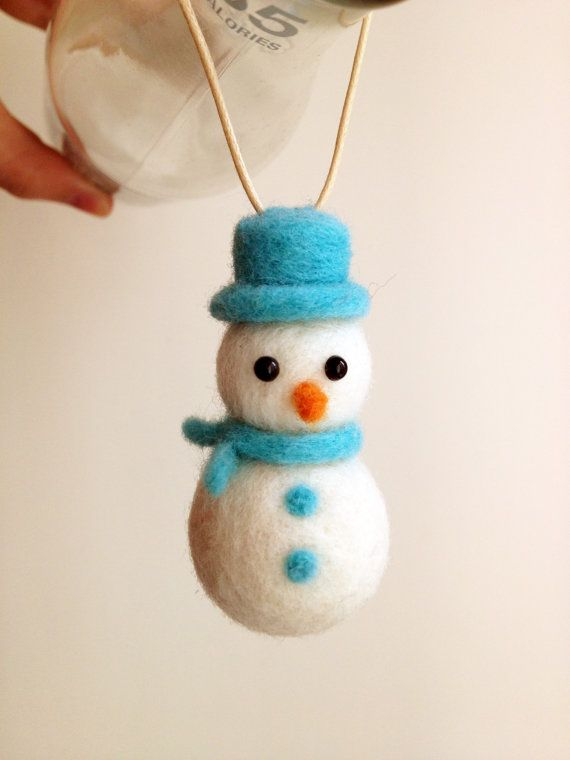 Christmas Ornaments Needle Felted Snowman By Emhocollections 8 00