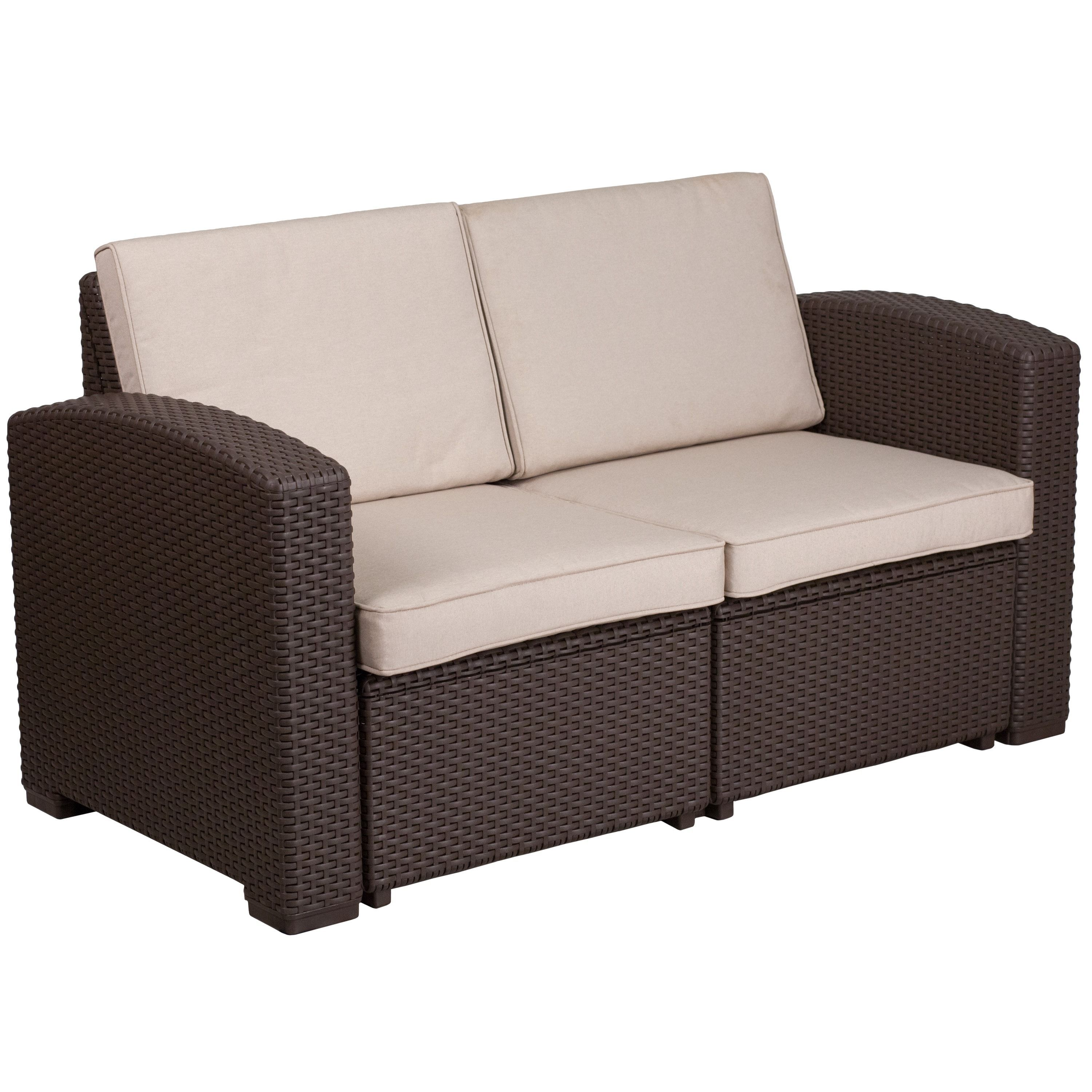 Faux Rattan Loveseat With All Weather Cushions Chocolate Brown