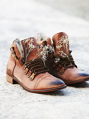 Ventura Hiker Boot | Lace-up washed leather hiker boots with hand-stitched leather soles.  *By Free People
