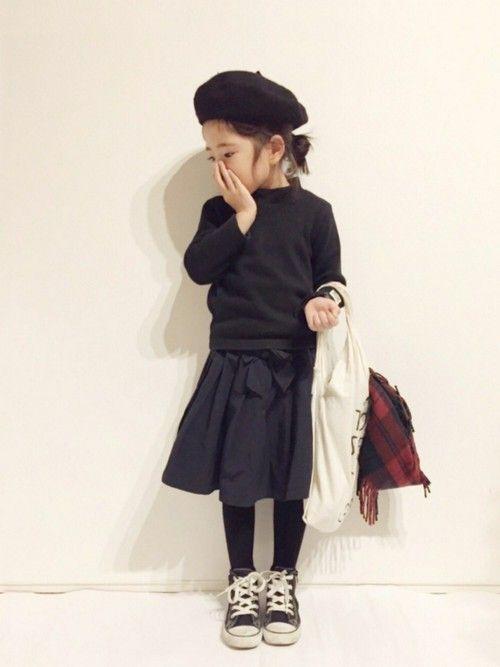 yuuunaさんの「グログランリボン付きカラ―スカート(petit main)」を使ったコーディネート