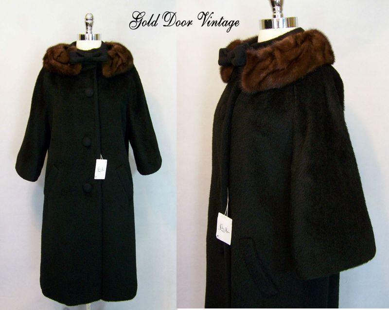 NOS w Tags Vintage 60s LILLI ANN Black Mohair Wool MINK FUR Trim Swing Coat L
