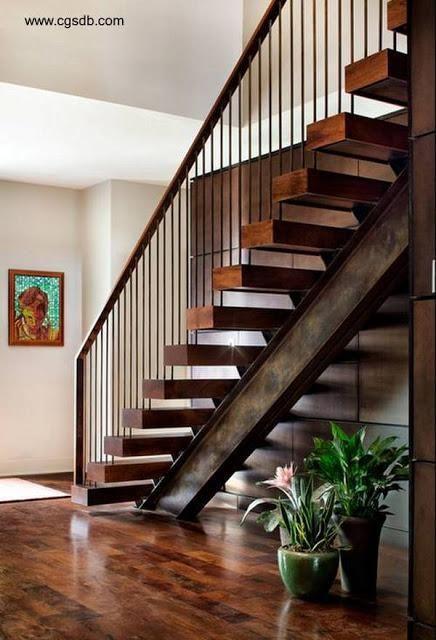 23 modelos de escaleras interiores Metal handrails, Interiors and