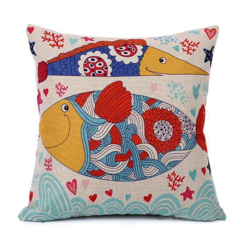 "17"" Decorative Cushion Cover Throw Pillow Case Cotton Linen Cartoon Seabed Fish"