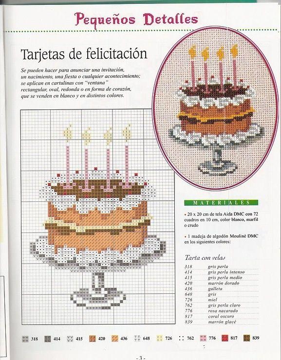 Tutoriales y DIYs: Punto de cruz - Tarta de cumpleaños | Punto croce ...