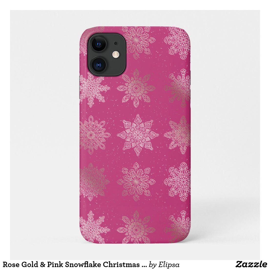 Rose Gold & Pink Snowflake Christmas Pattern CaseMate