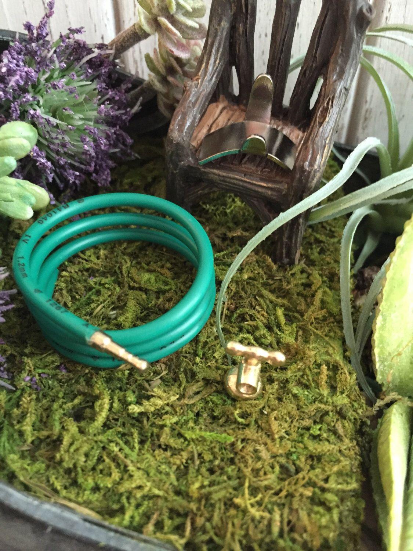 Dollhouse Miniature Garden Hose With Holder and Nozzle, Fairy Garden ...
