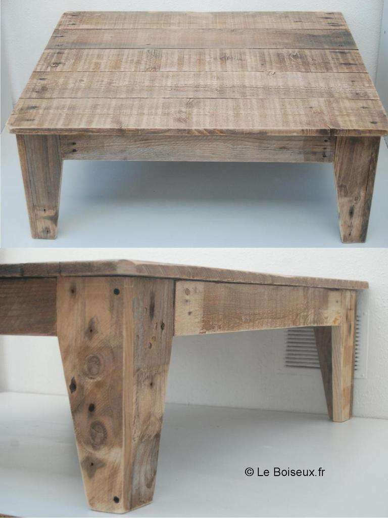 Table de salon en bois de palettes deco pinterest discover more ideas a - Table salon avec pouf ...
