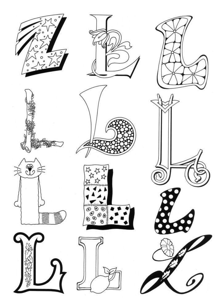 Kleurplaten Letter L.Letter L Design Coloring Pages