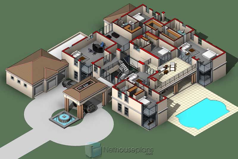 Modern 5 Bedroom House Plans And Home Designs Nethouseplansnethouseplans Bedroom House Plans House Plans With Pictures 6 Bedroom House Plans