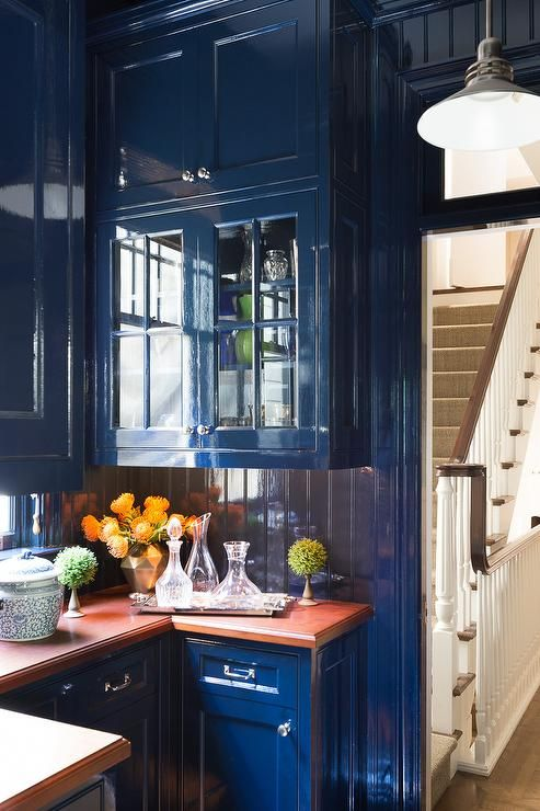 Blue Butler S Pantry Features Glossy Blue Lacquer Cabinets
