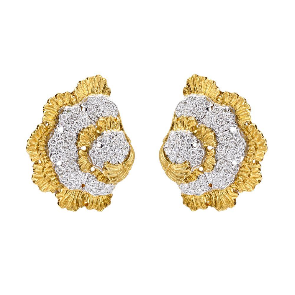 Silvertone round fan motif earclips  Vintage round fan in circle earrings  High style silvertone textured clip earrings