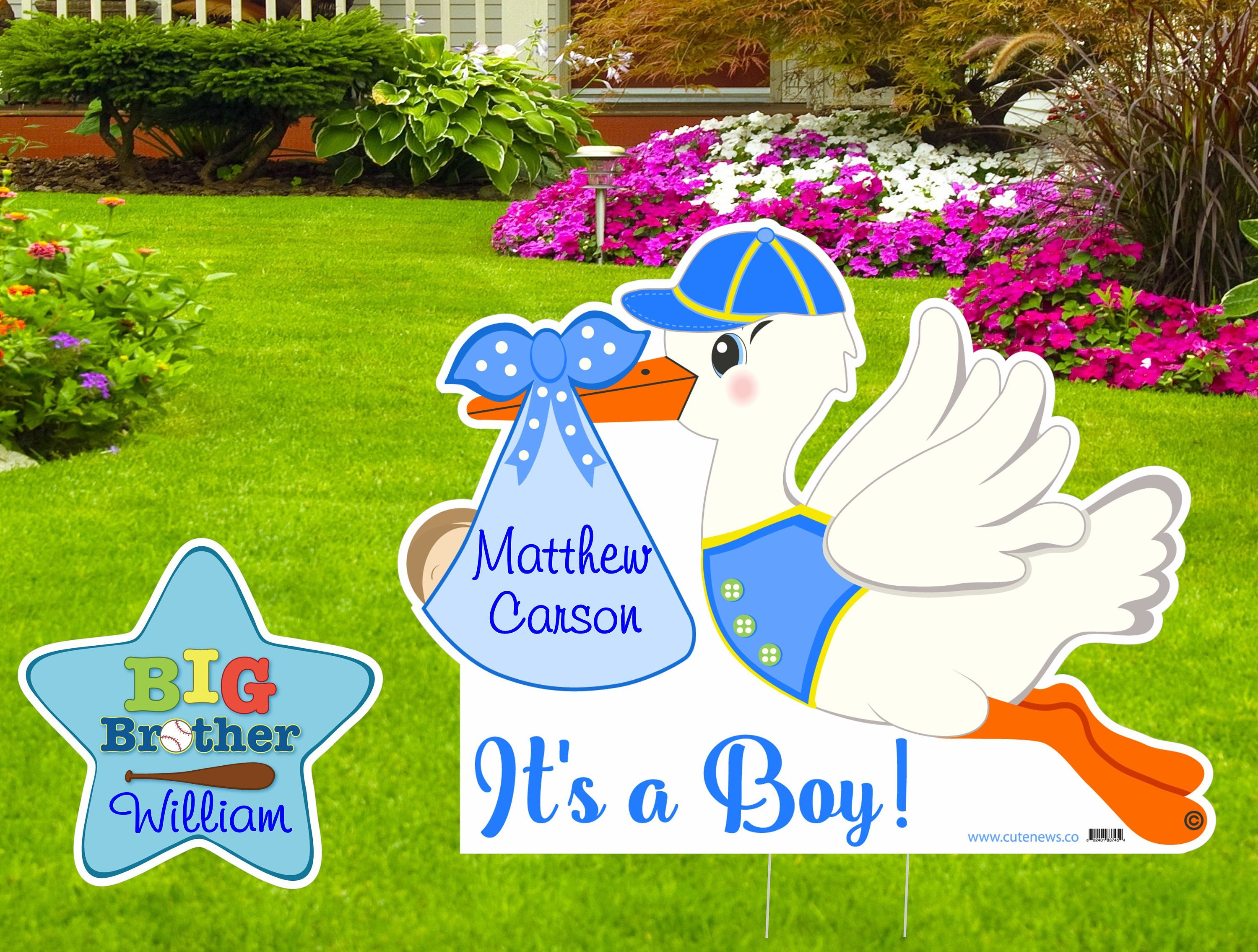 Welcome Home Baby Art for Boy or Girl Pink and Blue Gender Neutral Newborn Birth Lawn Decoration Baby Yard Card Stork Announcement Sign