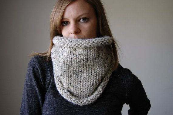 chunky knit cowl neckwarmer / the kodiak / oatmeal by ozetta, $38.00