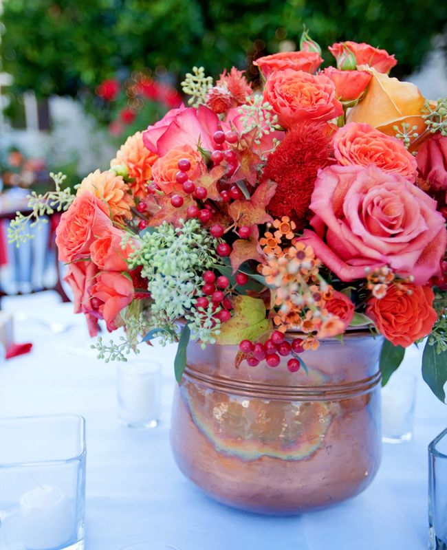 Copper is the next wedding color trend flowers